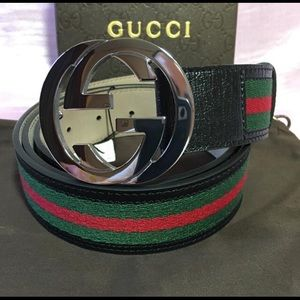 Gucci black leather green red stripe gg belt